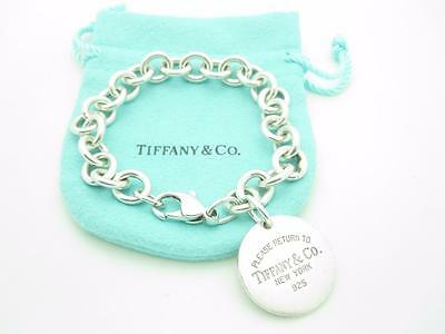 """Please Return To Tiffany & Co. Sterling Silver Round Tag Bracelet 7.5"""" - Pouch"""
