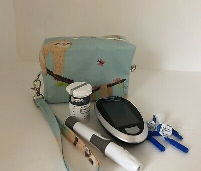 Diabetic Travel Bag, Storage Case For Glucose Meter And Supplies,sloths Oilcloth