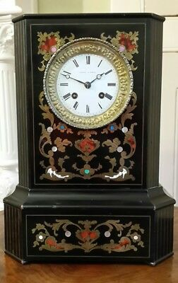 Antique French Empire Ebonised Boulle & Red Shell Inlaid Mantel Clock 1860