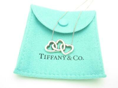 Tiffany & Co. Sterling Silver Triple Heart Pendant Necklace 18""