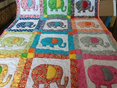 Handmade Appliqued Pieced Elephant Animal Baby Crib Quilt Blanket Personalized