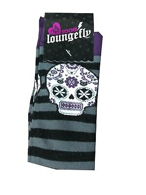 Black And Grey Striped Sugar Skull Loungefly Socks Size 9-11 New Gift