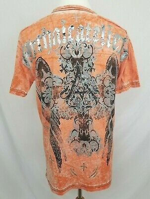 Archaic by Affliction Mens XL Orange T-Shirt Cross Wings Graphic Tee S/S