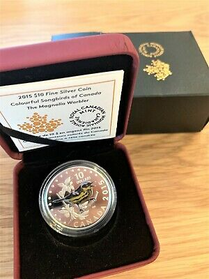RCM 2015 $10 Colourful Songbirds of Canada: The Magnolia Warbler - Silver Coin