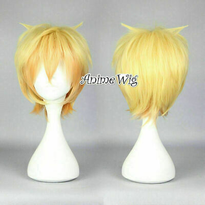 30CM Anime Short Mix Blonde Wavy Bangs Heat Resistant Party Unisex Cosplay Wig
