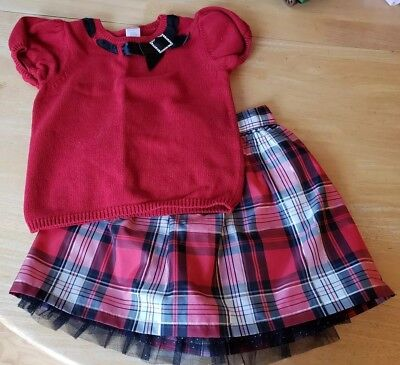 Girls size 7 GYMBOREE Short Sleeve Top Red SONOMA Lined Skirt Plaid *EUC