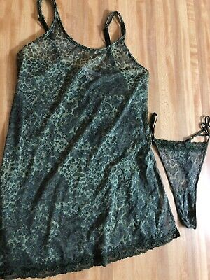 Vintage Victoria's Secret Made in USA Camo Sheer Stretchy Thong Camisole Size S