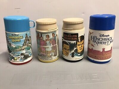 Vintage Thermos x4 Wonderful World The Waltons Six Million Dollar Man Hunchback