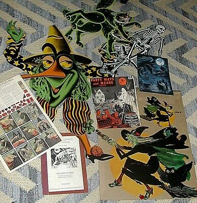 HUGE Vintage Antique Lot BEISTLE USA WITCHS CATS SKELETONS OLD COVERS PAPER ETC