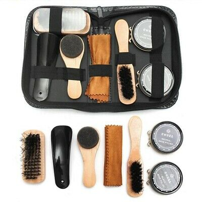 Neutral Shoe Polish Boot Leather Shine Care Cleaning Brushes Tool Kit + Case