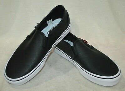 VANS WOMEN'S ASHER Black Perforated Leather Skate Shoes
