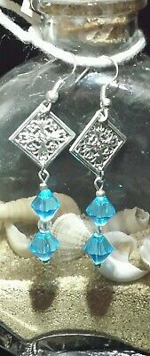 Turquoise Blue Glass Filigree Silver Plated Handmade Dangle Earrings