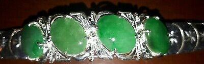 Quality Silversmith Made Jade and 925 Sterling Silver Ladies Bracelet & Diamante