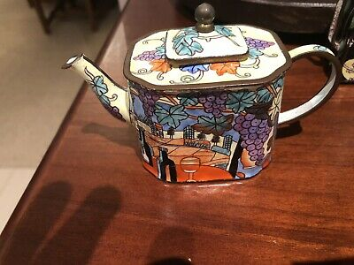 Teapot Miniature Mini Collectable Grapes Vines Enamel Wine