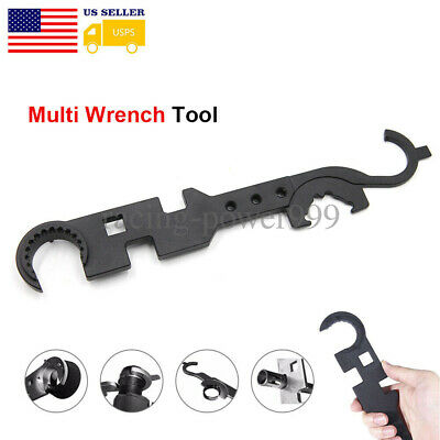 Multi-Function Wrench Barrel Nut Spanner Steel Tactical Tool Outdoor USA