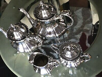 E.P.O.A. Lancaster Silver Rose By Pool  COFFEE TEA 4 pieces Set Looks Great