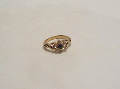 Vintage cluster ring,sapphire blue & white stones in  bright gold metal, size N