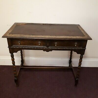 Antique occasional desk table drawers barley twist legs