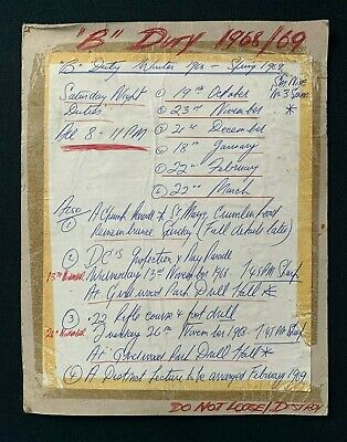 Vintage 1968 Hand Written Notice Rota, RUC / B Specials / Military Ephemera