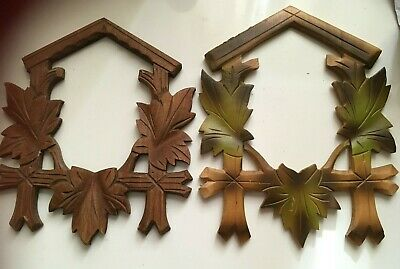 Cuckoo Clock spares 2 WOODEN CRAVED FRONT FROM OLD CUCKOO CLOCK SEE PHOTOS