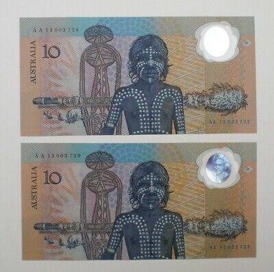 2 x 1988 AUSTRALIA BICENTENIAL $10 NOTES, CONSECUTIVE NUMBERS,UNC. FREE POST.