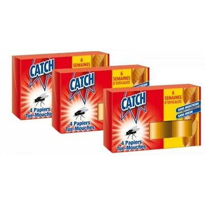 a8052 - Catch Papier Tue-Mouches 4 rouleaux - Lot de 3 paquets