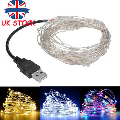 50/100/200 LED Mico Rice Copper Wire String Lights USB Christmas Party Wedding