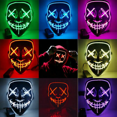 Light Up LED Scary Mask for Stitch Costume Halloween Cosplay Party Purge 4Mode
