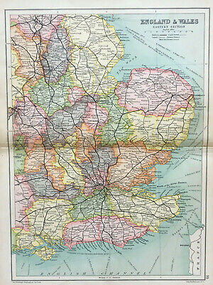 Antique Map Of England & Wales Middlesex Essex Kent 1910 John Bartholomew & Co