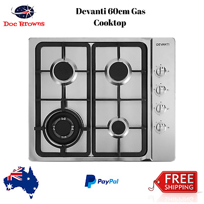 60cm Gas Cooktop Kitchen Stove 600mm 4 Burner Cook Top NG LPG Stainless Steel