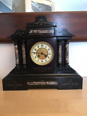 Large old antique black slate & marble mantle clock in working order