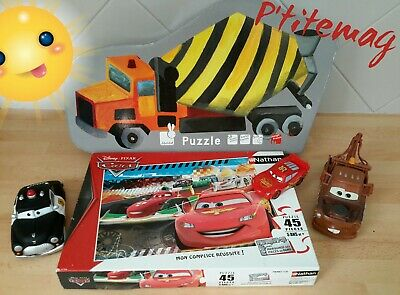 Lot puzzles Janod, camion chantier 54 p,Cars Nathan 45 p.+ voitures cars