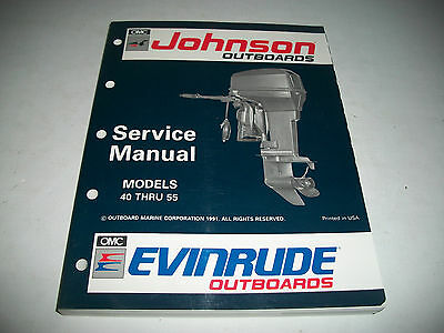 1992 Johnson Evinrude 40 Thru 55 Outboard Service Shop Manual #508143 Clean