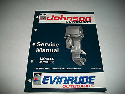 1992 Johnson Evinrude 60 Thru 70 Outboard Service Shop Manual #508144 Clean