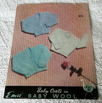 ORIGINAL VINTAGE, 1950's, EMU KNITTING PATTERN, No. 816 BABY COATS in 3 sizes