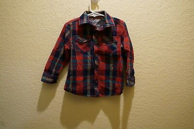 Toddler Boy's Multi-Color Flannel Button Front Shirt By Joe Fresh Size 3 Yrs Old