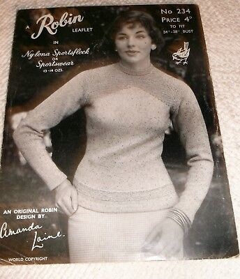 ORIGINAL VINTAGE, ROBIN KNITTING PATTERN, No.234 LADY'S SWEATER in 2 sizes