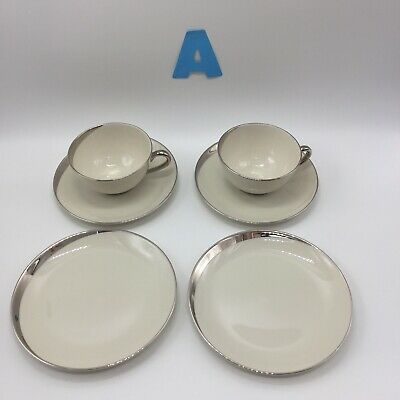 Lot of 6 Pickard Crescent Ivory 2 Bread Plates 2 Cups 2 Saucers MSRP $198 USA