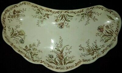 Antique Alfred Meakin Royal Ironstone China Trinket/Ring Dish Tulips and Flowers