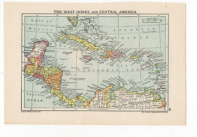 Antique Map Of West Indies & Central America George Philip & Sons C1900