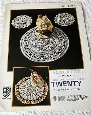 ORIGINAL, VINTAGE, TWILLEYS HOME CROCHET PATTERN, No.6085, CROCHET TABLE CENTRES