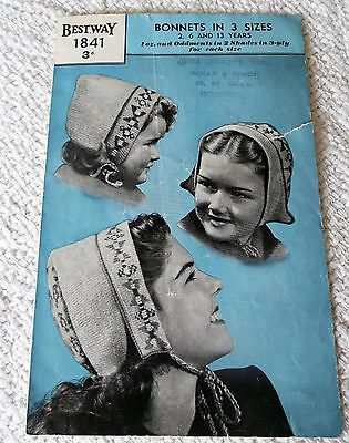 ORIGINAL VINTAGE 1930s BESTWAY KNITTING PATTERN No. 1841 BONNETS in 3 SIZES