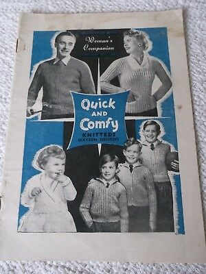 ORIGINAL VINTAGE FEB. 5th 1955 WOMANS COMPANION KNITTING SUPPLEMENT QUICK&COMFY