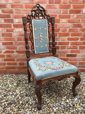 Beautiful Antique Ornate French Salon Throne Hall Chair