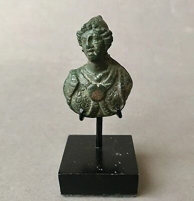 Beautiful Ancient Roman Bronze Bust Of Gladiator In Fine Details With Stand