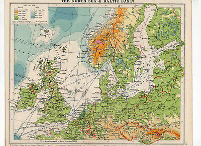 Antique Map Of North Sea & Baltic Basin George Philip & Sons C1930