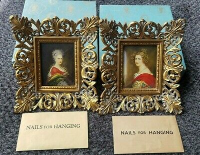 Set of 2 Vintage Cameo Creation Miniature Portraits in Origianl Boxes