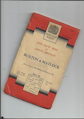 """OS 1"""" Seventh Series Map BUXTON and MATLOCK 111  1962"""