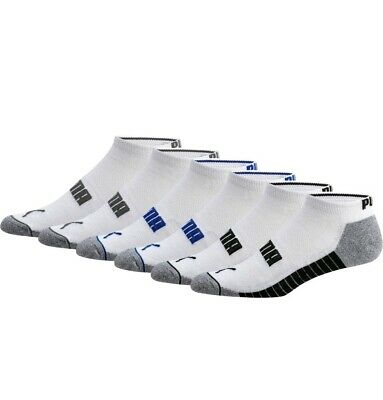Puma Mens Low Cut Ankle Socks Cushioned Shoe Size 6-12 6 Pairs White Blue Black