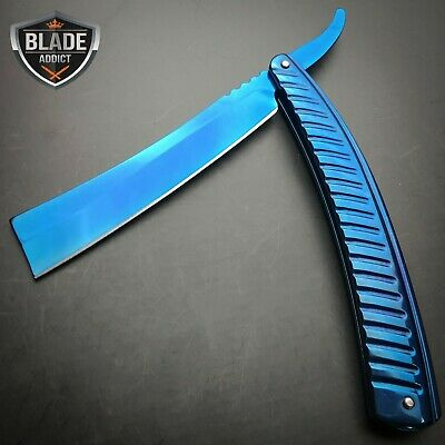 Blue FADE Straight Blade Barber Razor Folding Pocket Knife Shaving Cut Throat -S